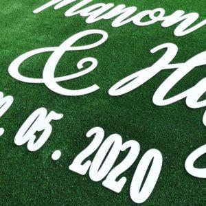 Prénoms des mariés calligraphie
