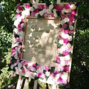 Panneau de bienvenue cadre fleur