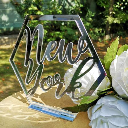 Déco mariage_Nom de table Hexagone_Plexi miroir argent_New York_1
